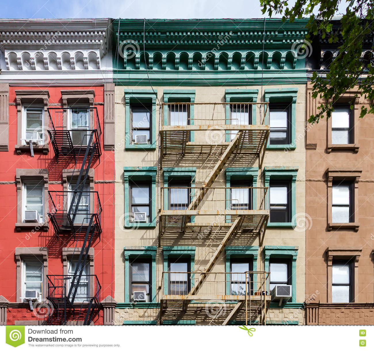 Apartment Rentals In New York City Manhattan: Colorful Old Apartment Buildings In New York City Stock