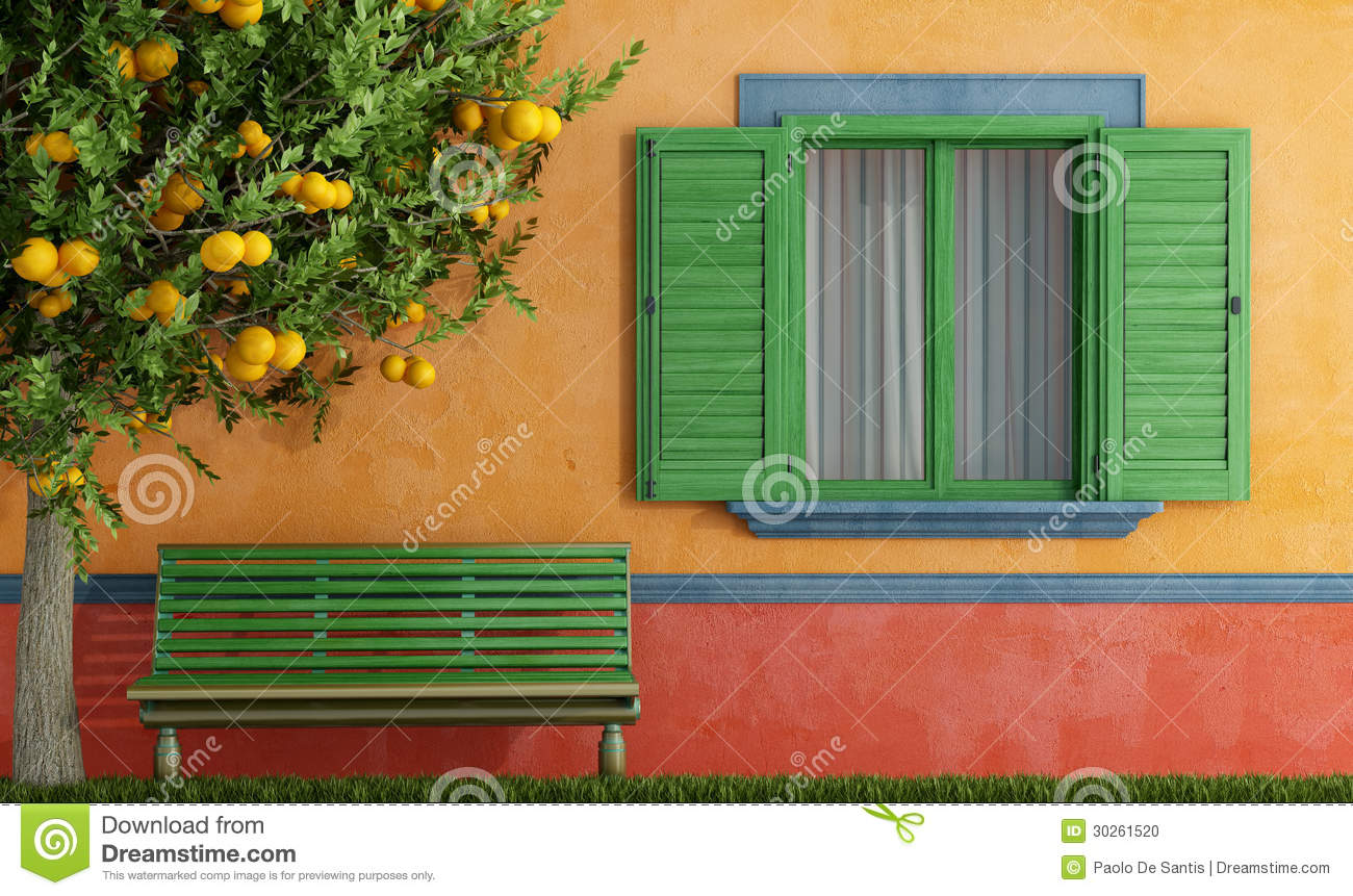 Old House With Green Windows Bench And Tree Stock Photo - Image ...