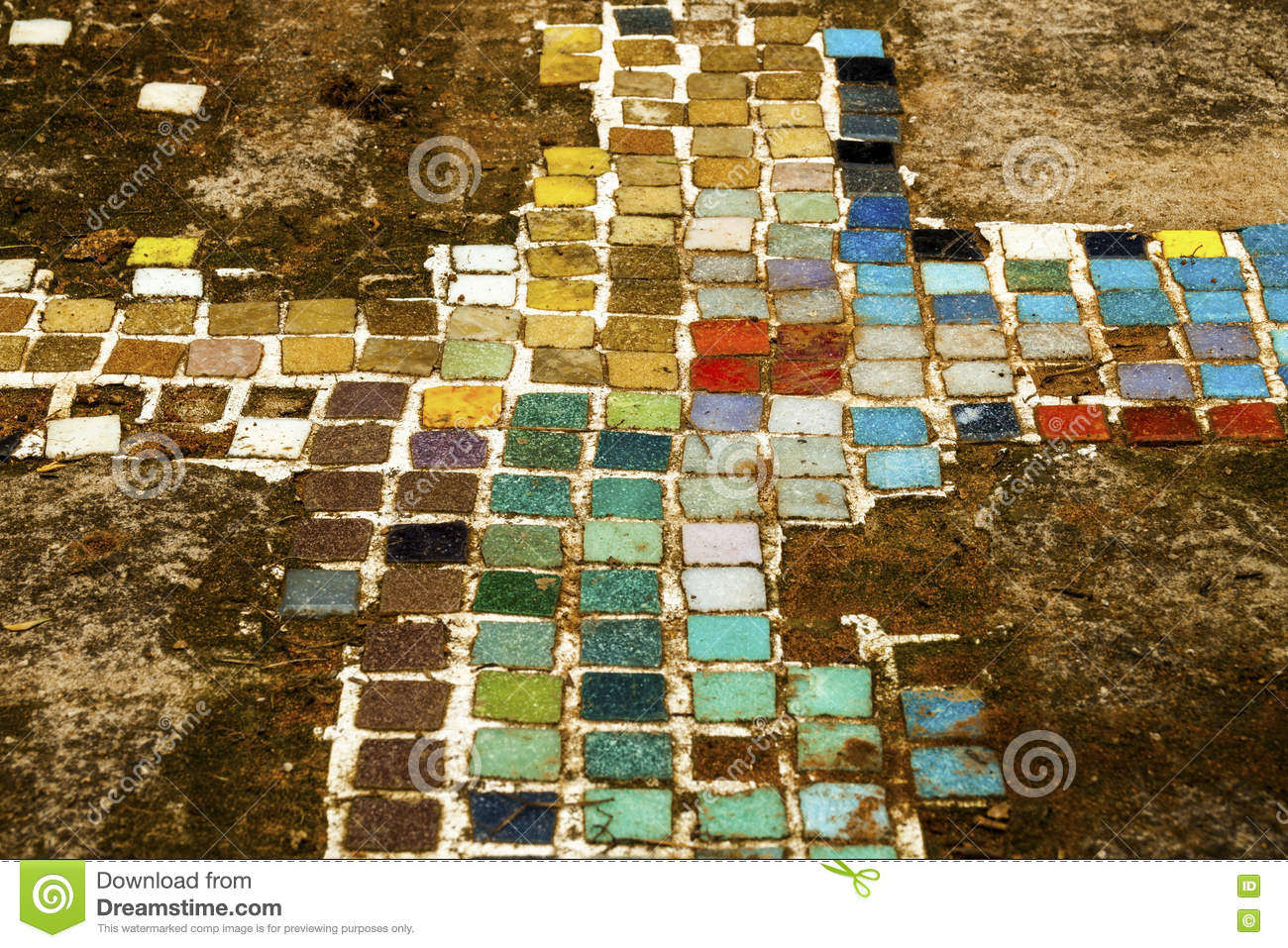 Colorful Old Mosiac Tiles On Sandy Outdoor Garden Path Stock Image ...