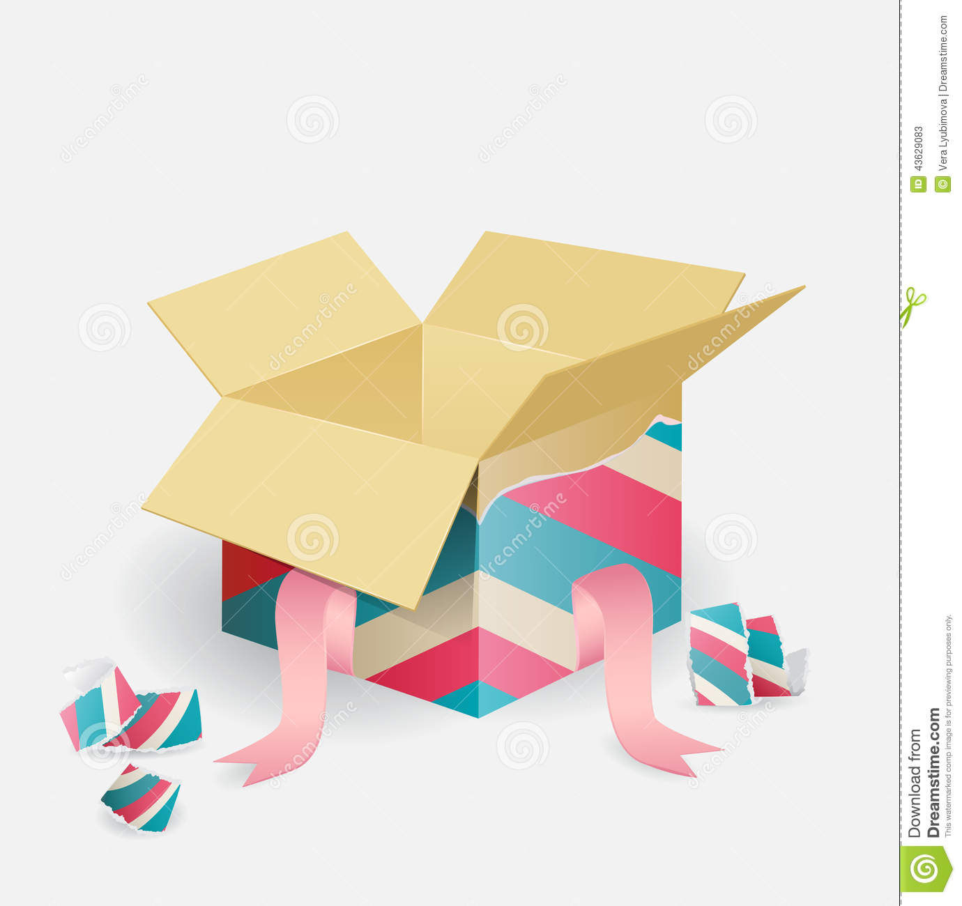Colorful Opened Striped Gift Box Stock Vector