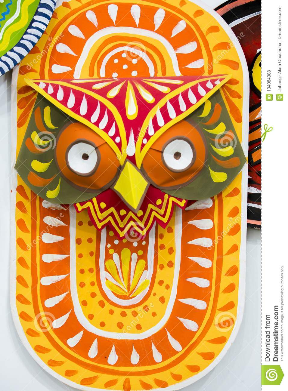 Colorful Orange Owl Mask Making On Paper  Editorial Stock