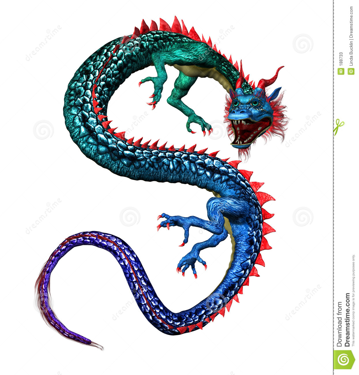 colorful oriental dragon   includes clipping path stock