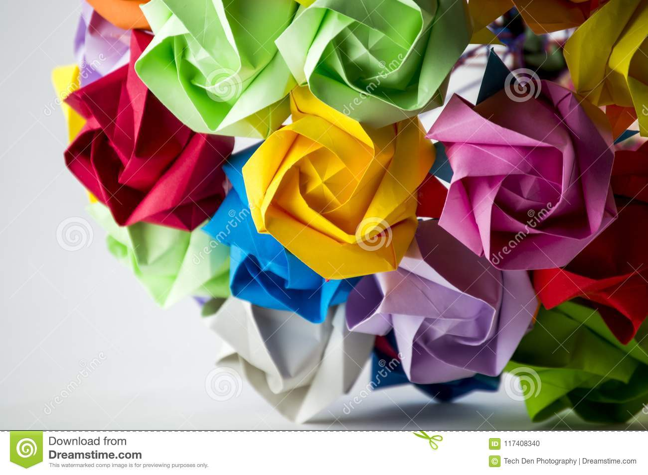 Colorful Origami Flower Bouquet On White Background Stock Photo