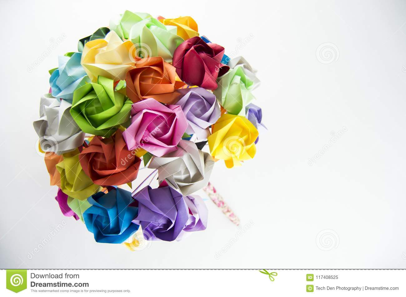 Colorful Origami Flower Bouquet On White Background Stock Image