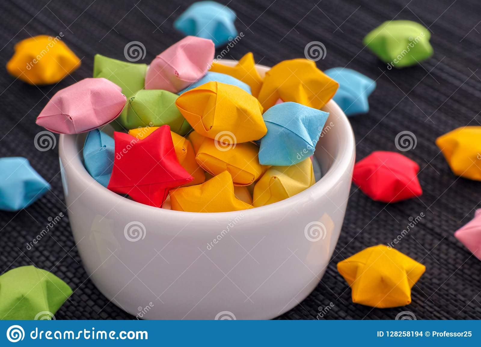 Colorful Origami Lucky Stars In A White Bowl Stock Photo ... - photo#42