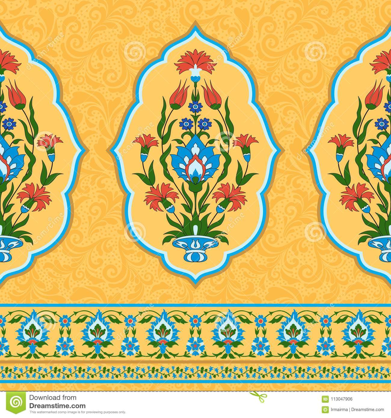 Colorful ornamental pattern in eastern style