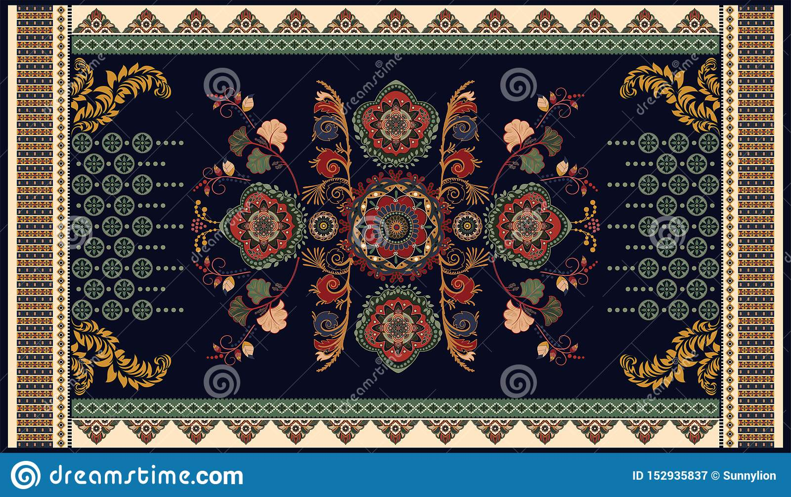Colorful Ornamental Vector Design For Rug Carpet Tapis Yoga Mat