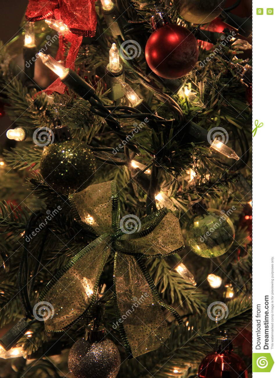 download colorful ornaments and blinking lights on christmas tree stock image image of flickering