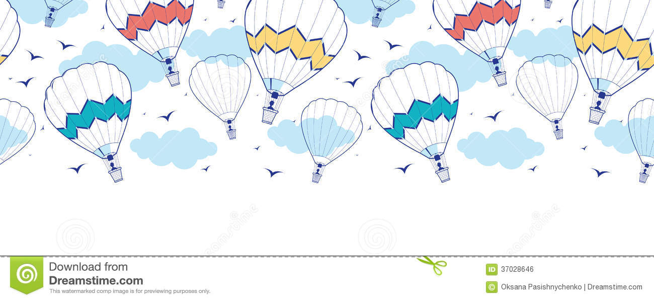 Colorful Ot Air Balloons Horizontal Border Stock Vector ...