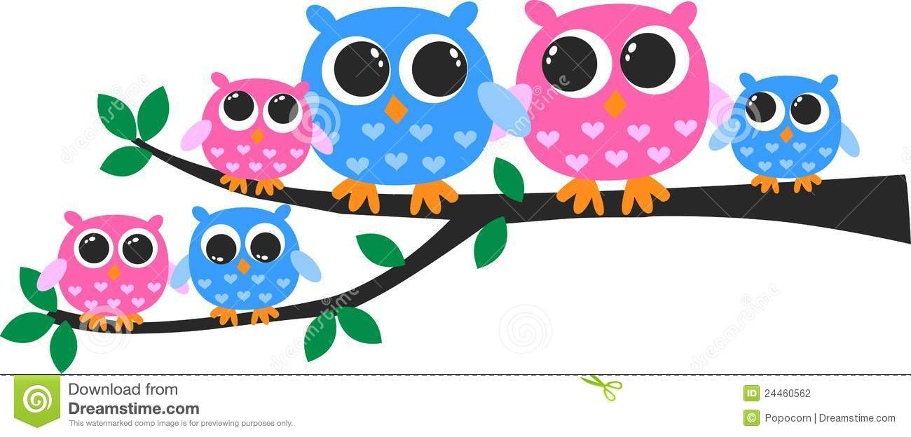 colorful owl family stock illustration illustration of Colorful Owl Clip Art clip art owl in a tree