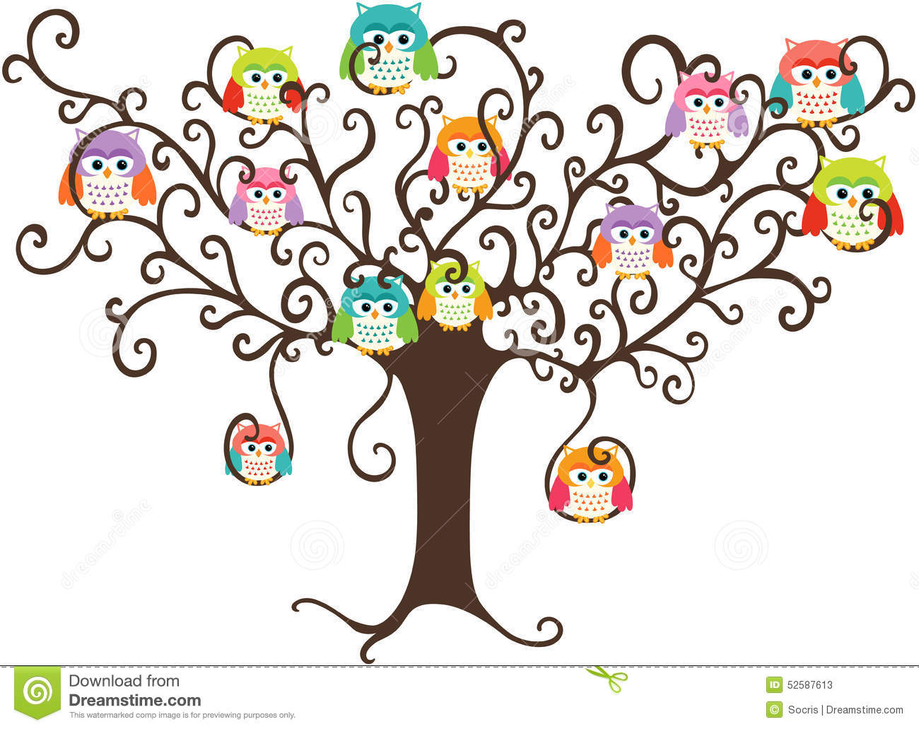 Colorful Owls In Pretty Tree Stock Vector Illustration
