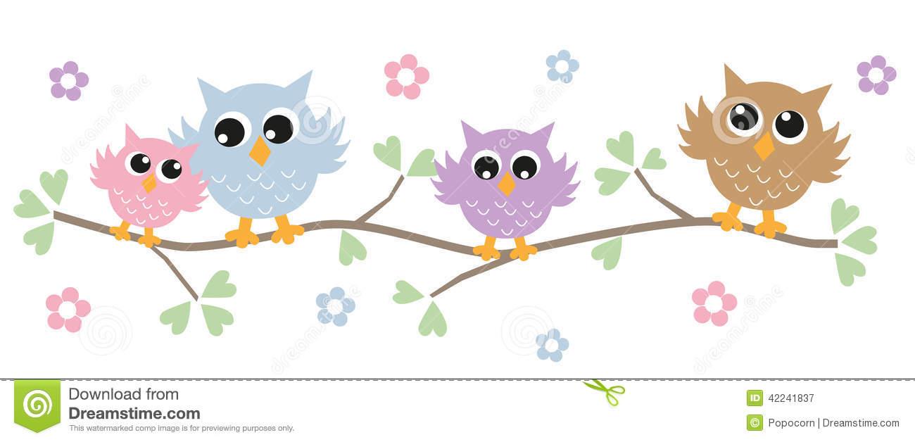 Colorful owls in a tree stock vector. Illustration of beak ...
