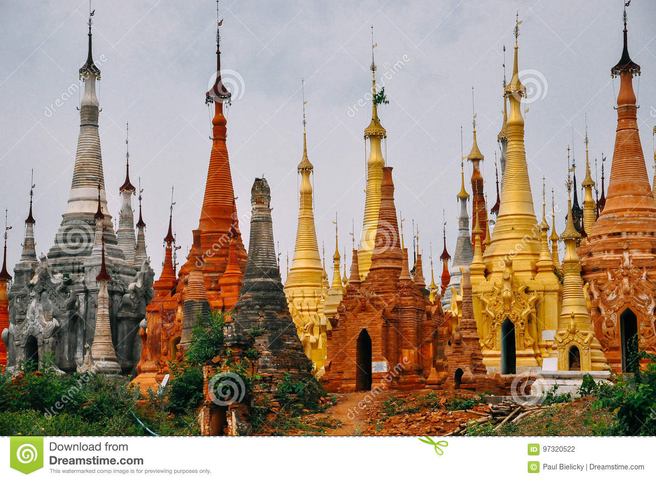 Colorful pagodas in Indein village at Inle lake.