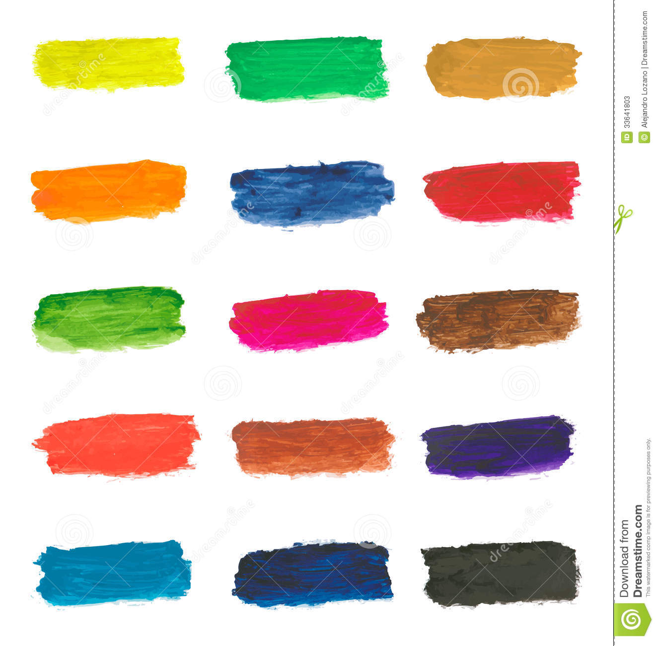 Different Colors Of Paint: Colorful Paint Brushstrokes Stock Vector