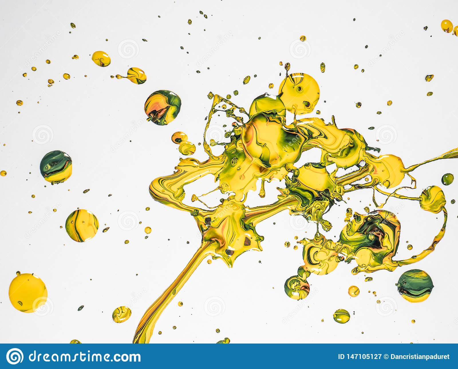 Colorful Paint Drops on White Background