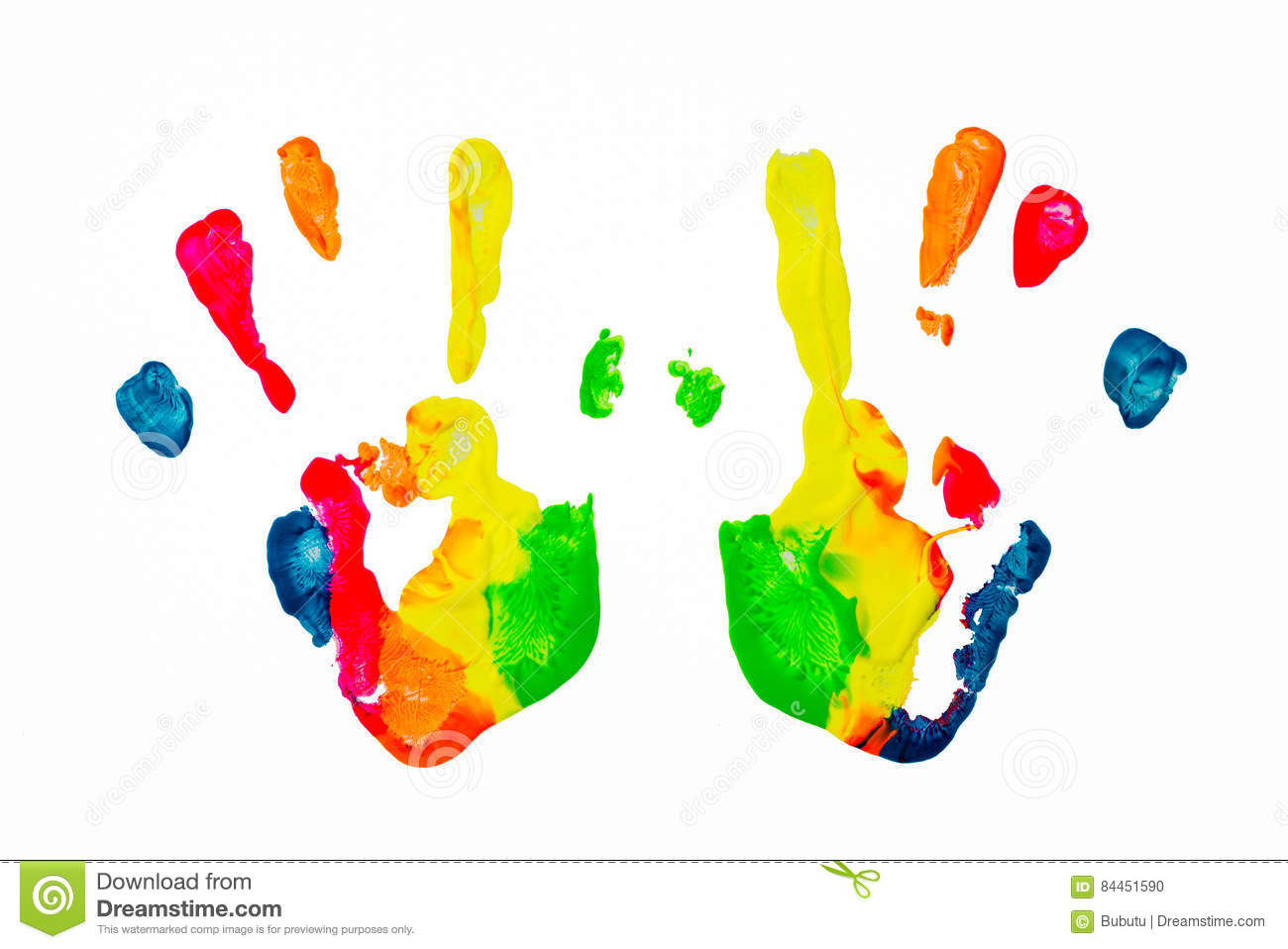 Colorful paint hand print