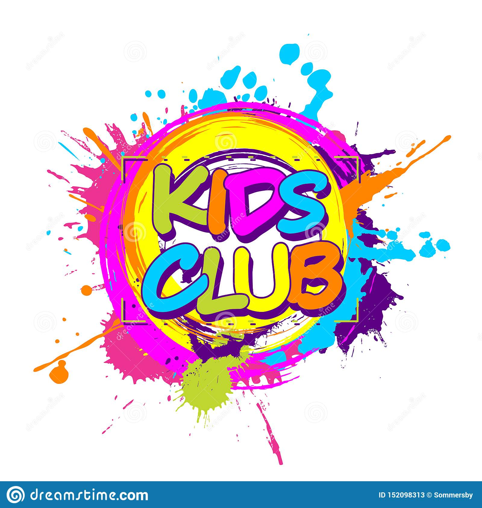 Colorful Paint Splashes With Circular Kids Club Emblem For