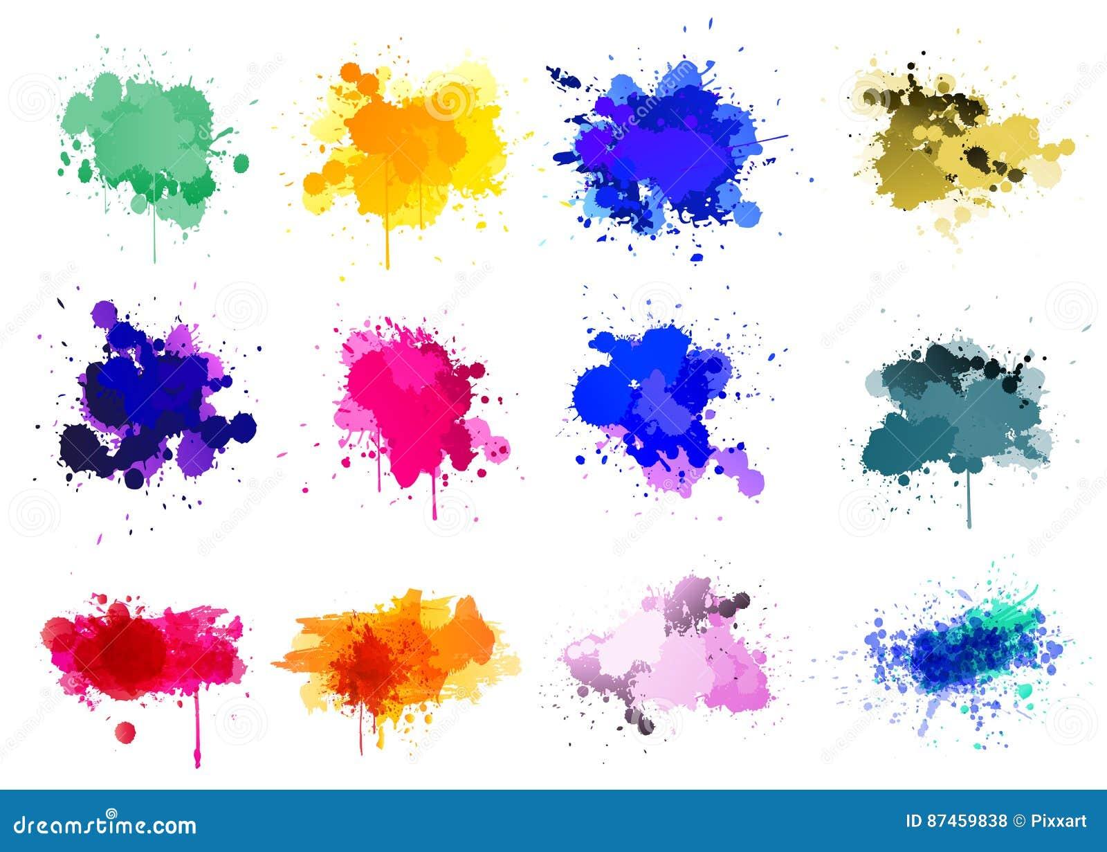 Colorful paint splatters - set of 12