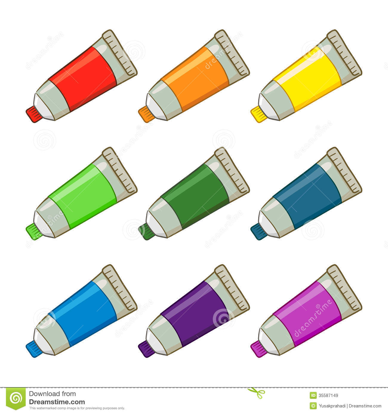 Colorful Paint Tubes stock vector. Illustration of ...
