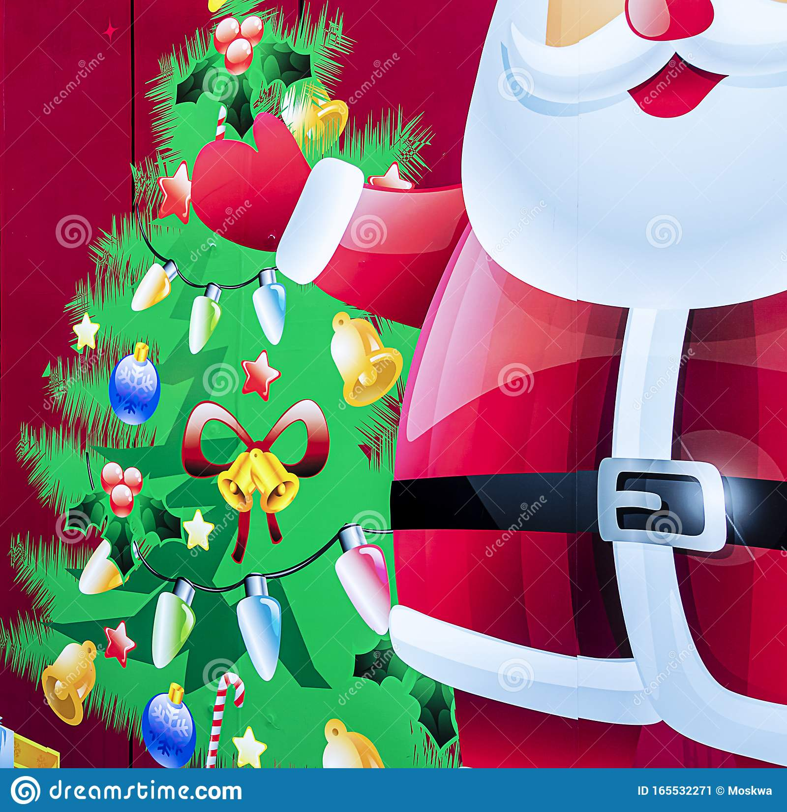 Colorful Christmas Background With Santa Claus And Christmas Tree Stock Illustration Illustration Of Painted Decoration 165532271