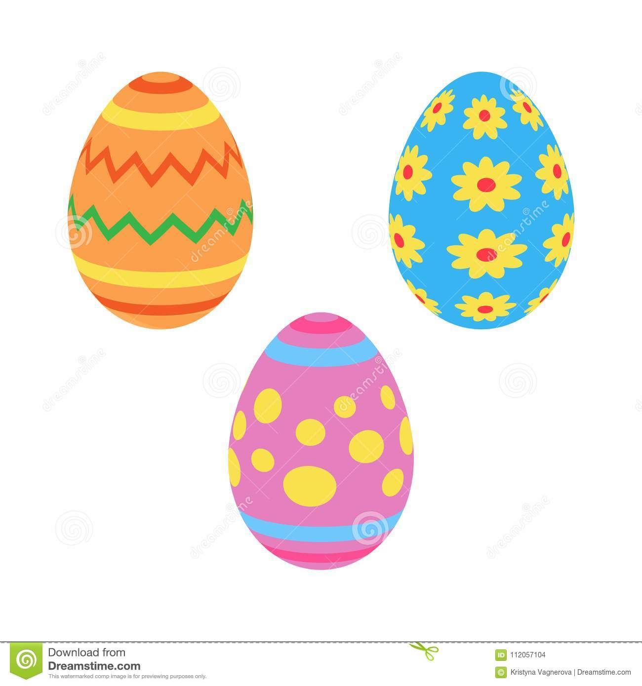 Colorful Painted Traditional Easter Eggs Stock Vector