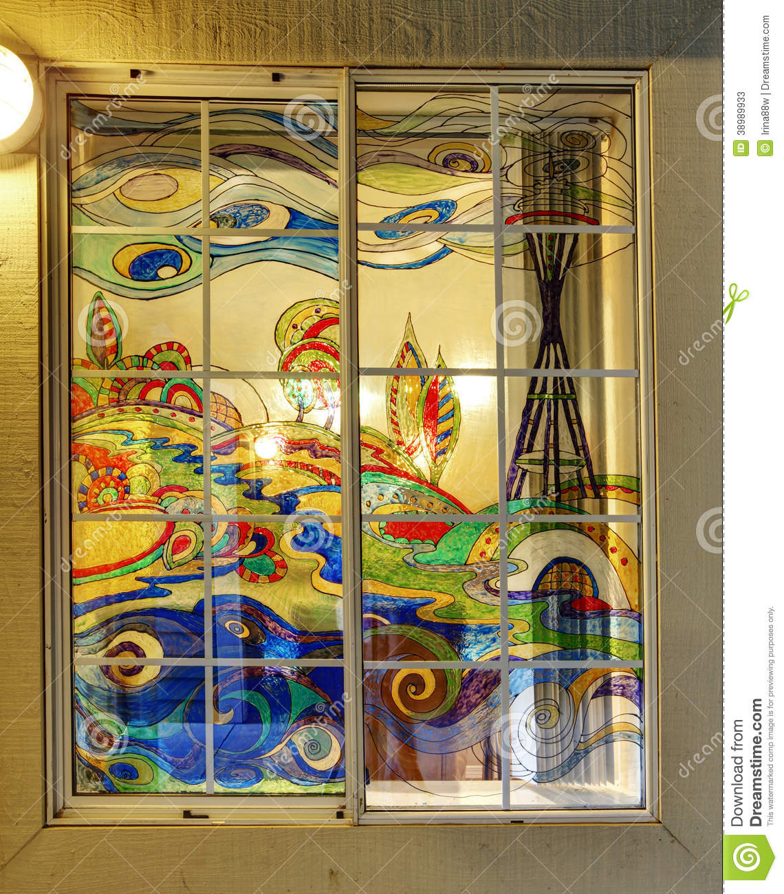 Colorful Painted Window Stock Photo Image 38989933