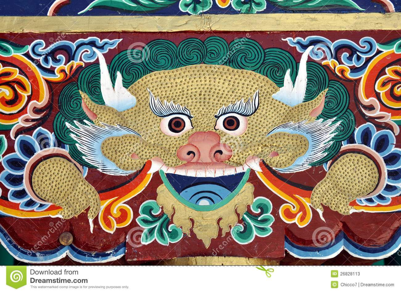 Colorful Painting From A Buddhist Temple In Ladakh Stock Image - Image of  eyes, orange: 26828113