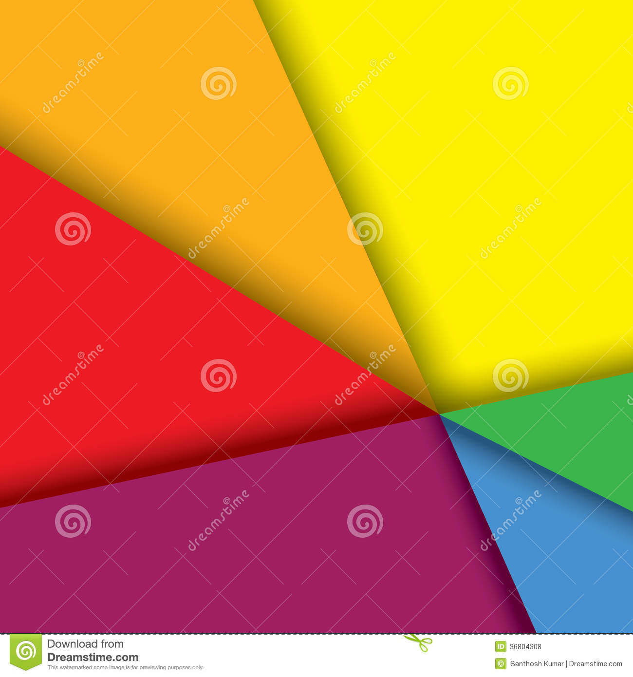 Colorful paper background with lines & shadows - v