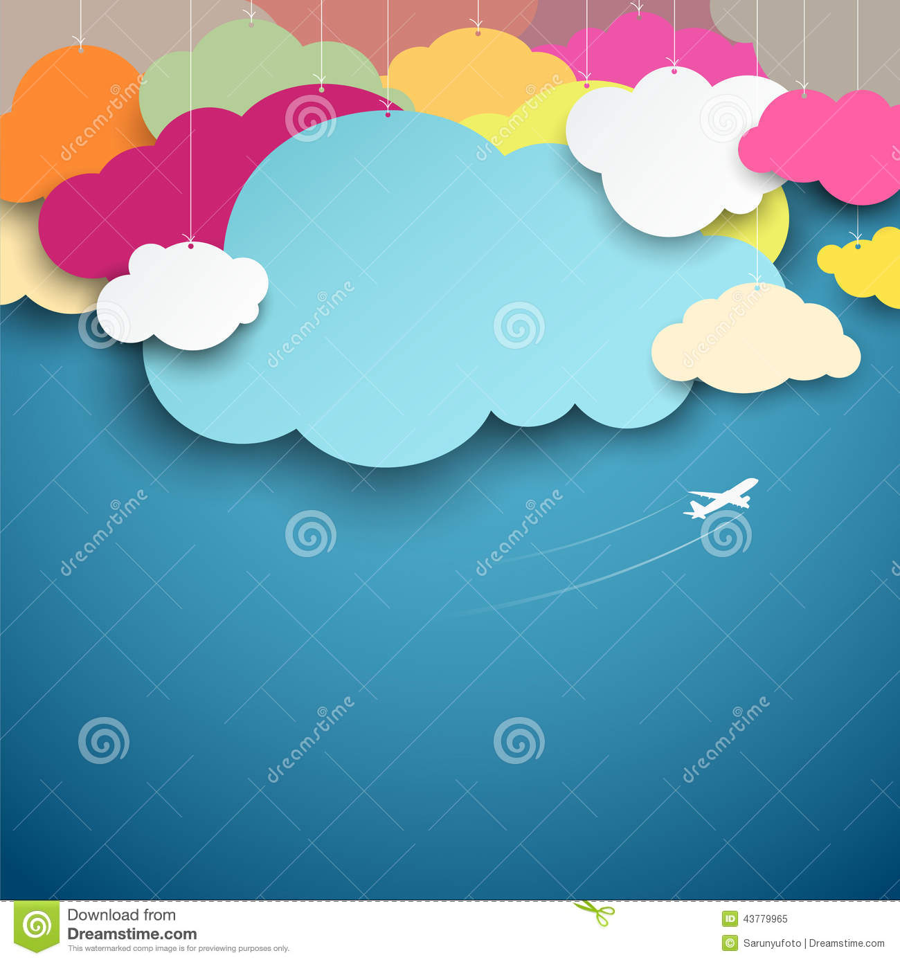 Colorful paper cut clouds shape design stock vector for How to make a paper cloud