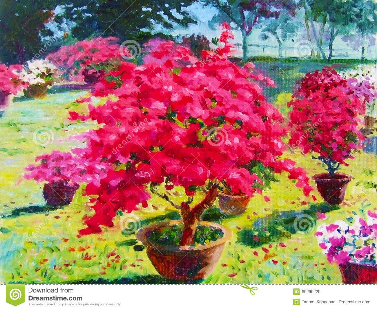 Colorful Of Paper Flower Tree And Emotion At The Garden Stock