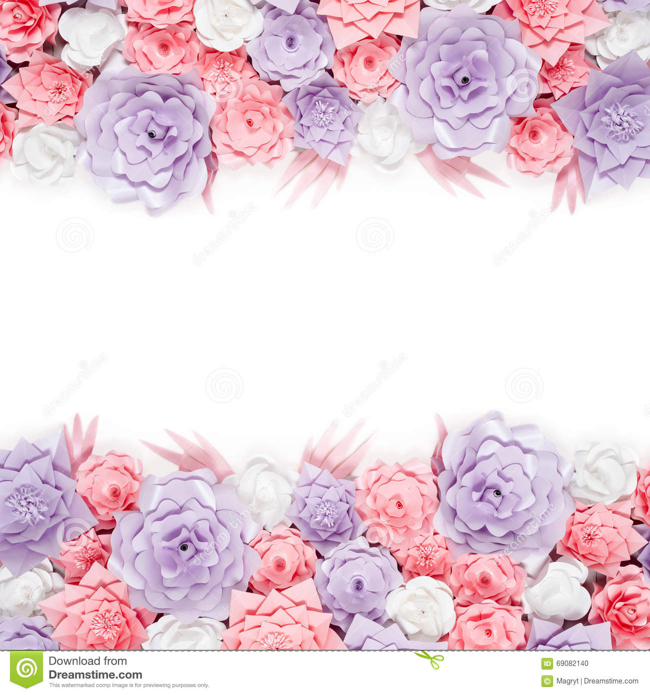 Colorful Paper Flowers Background Floral Backdrop With Handmade