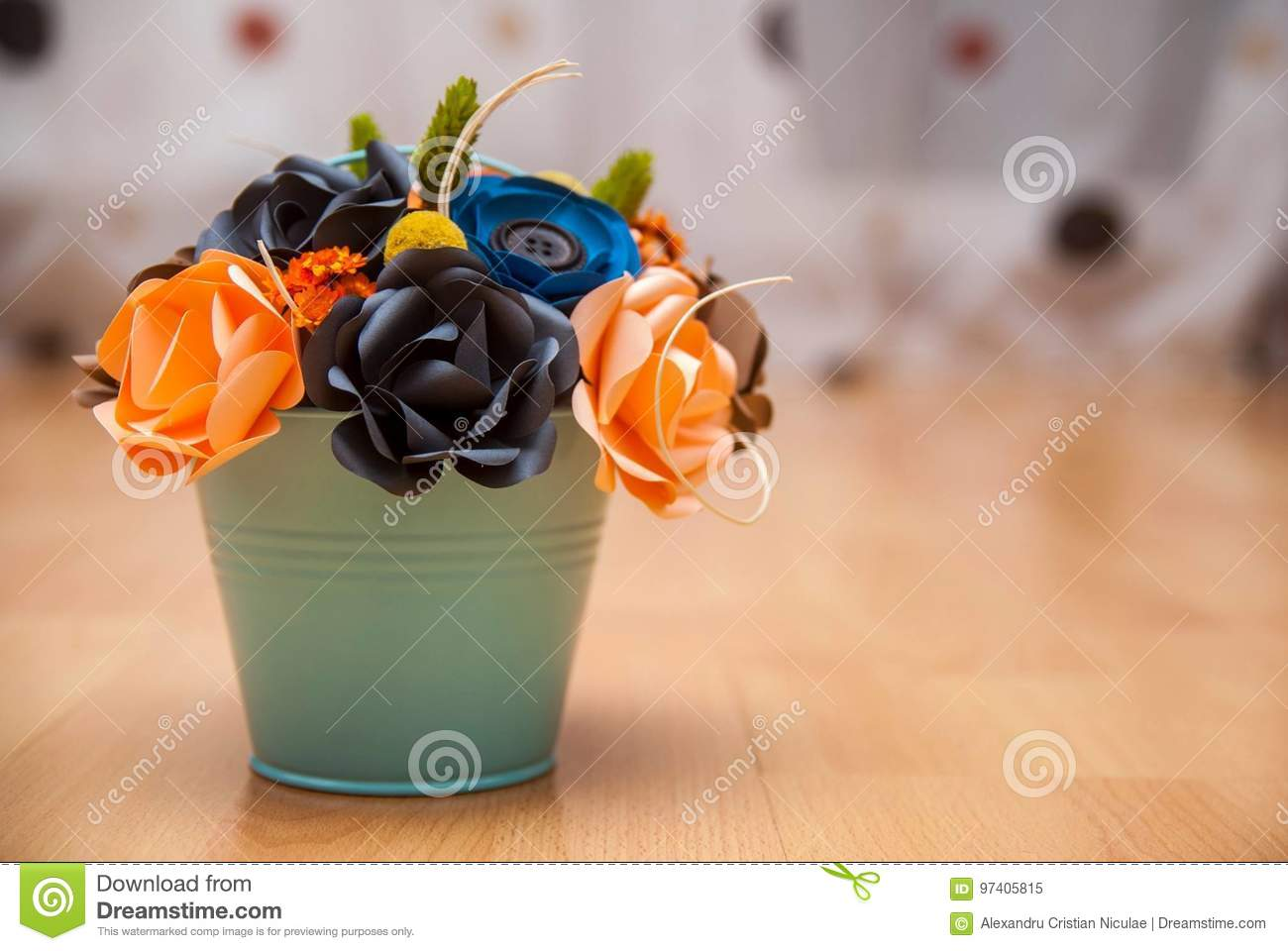 Colorful Paper Flowers In A Small Bucket Stock Image Image Of