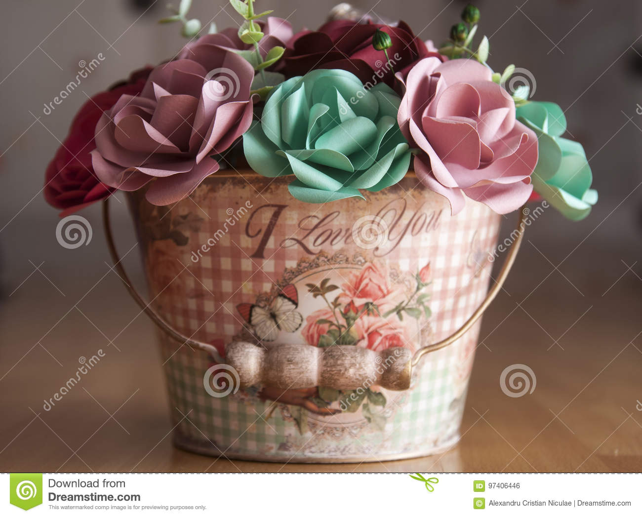 Colorful Paper Flowers In A Small Bucket Stock Photo Image Of Fold Backgrounds 97406446