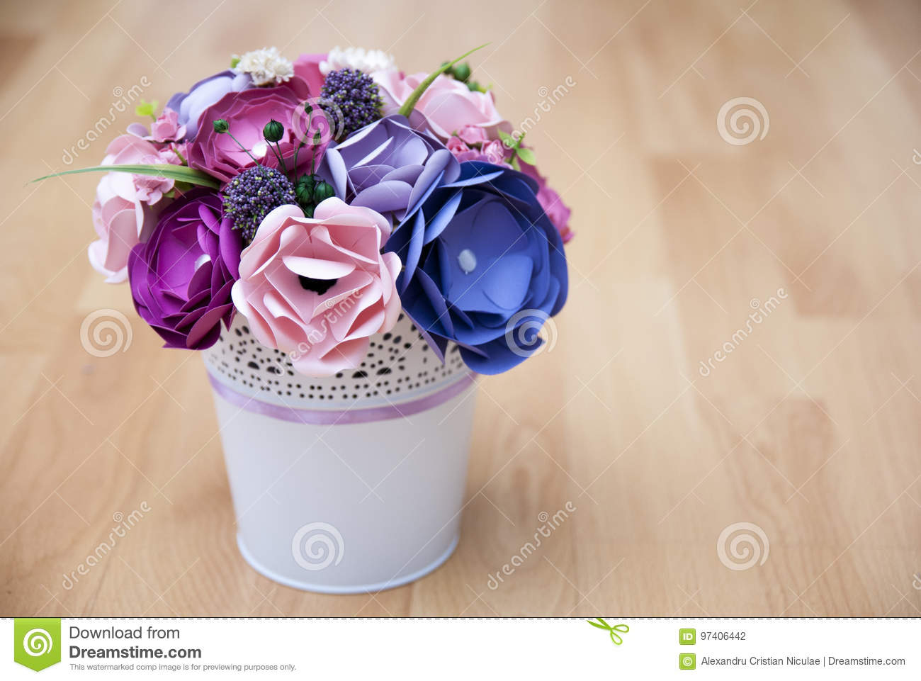 Colorful Paper Flowers In A Small White Bucket Stock Photo Image Of Colors Green 97406442