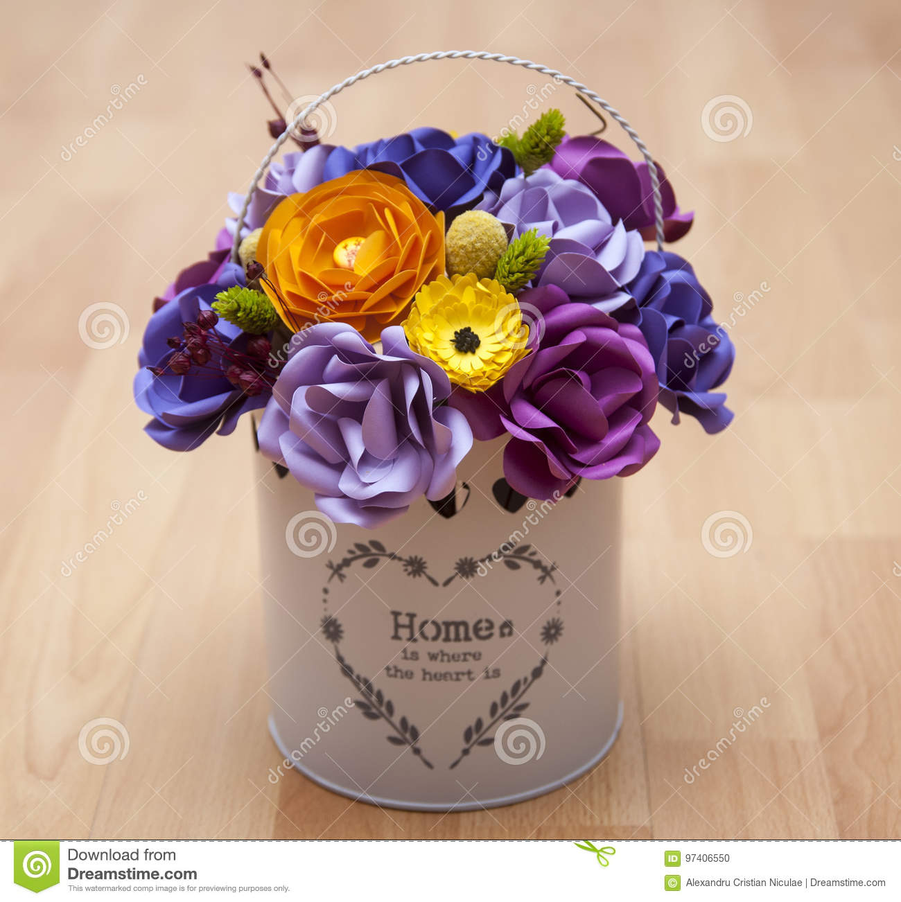 Colorful Paper Flowers In A Small White Bucket Stock Photo Image Of Group Colorful 97406550