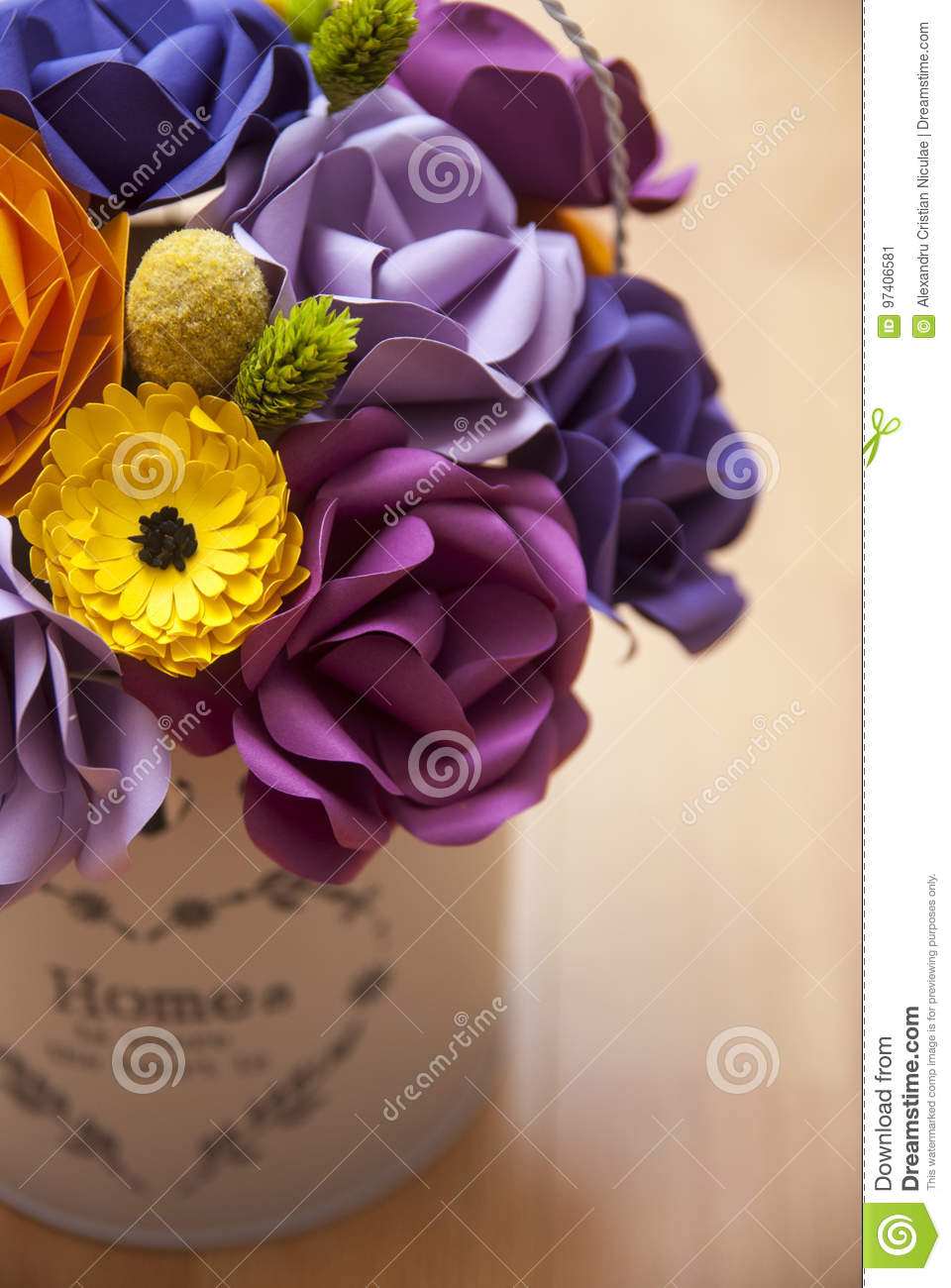 Colorful Paper Flowers In A Small White Bucket Stock Image Image Of Colorful Arts 97406581