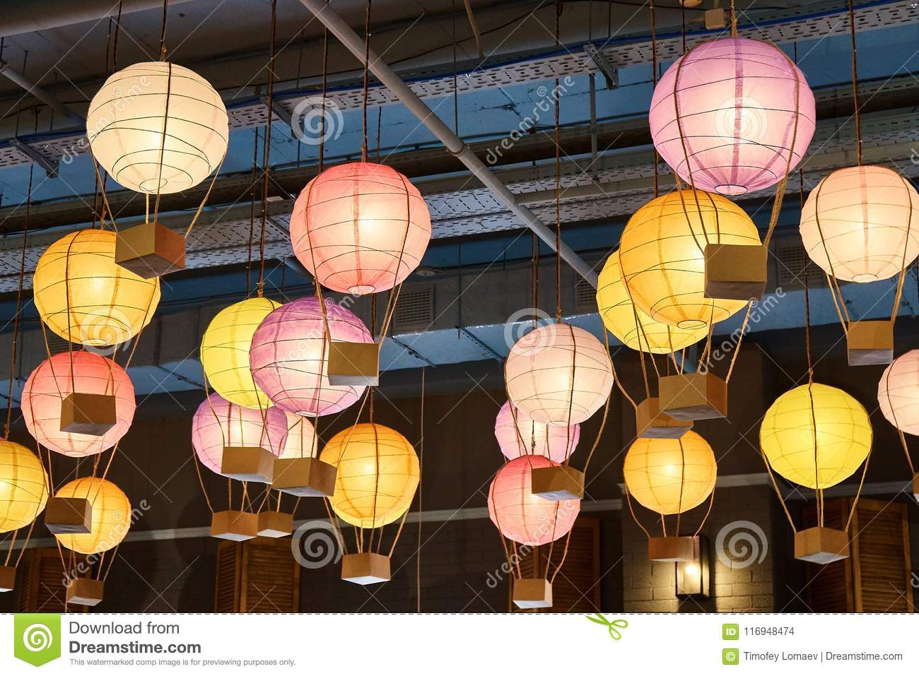 colorful paper lanterns hang on ceiling stock photo image of