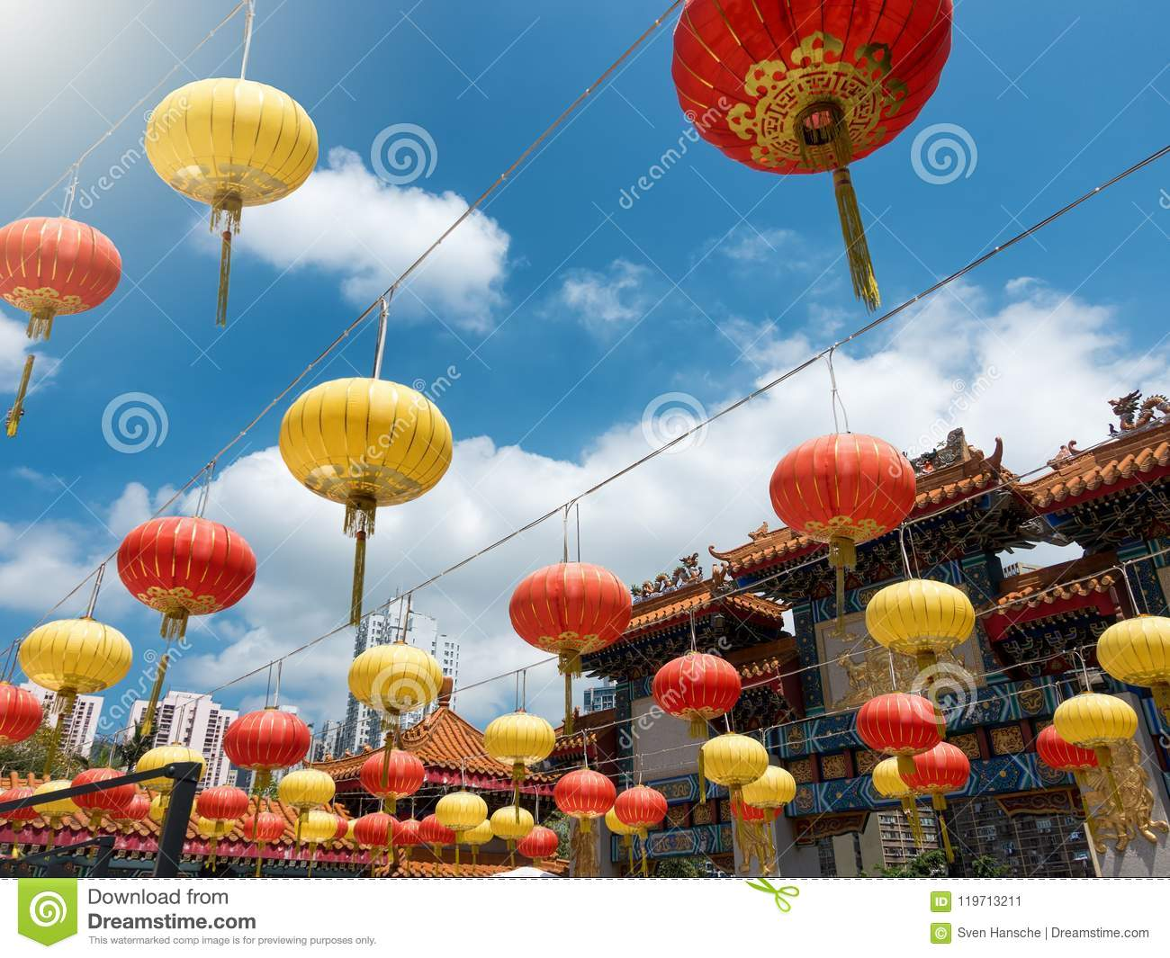 colorful paper lanterns in hong kong stock image image of religion