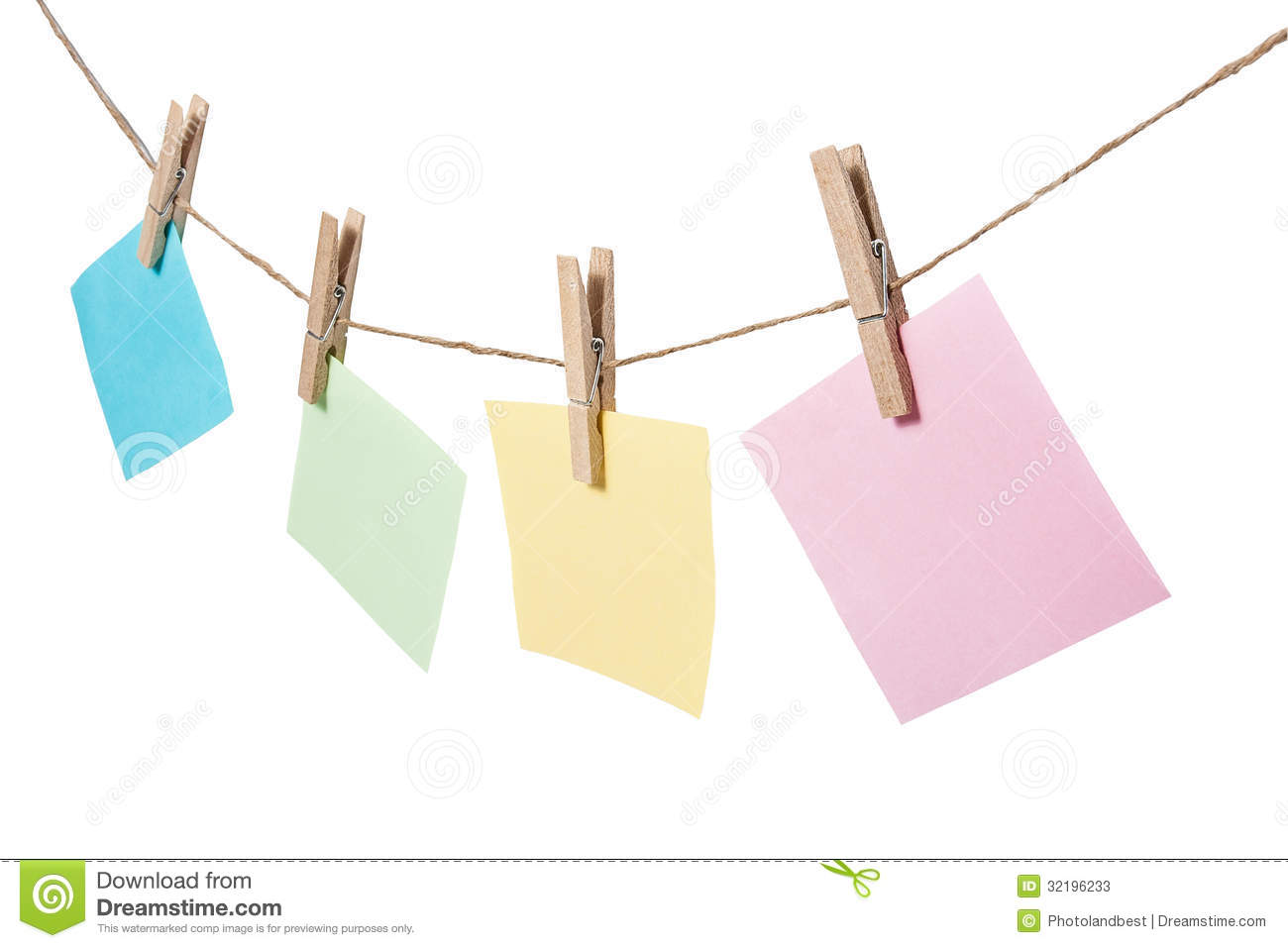 colorful of paper notes hanging on the rope stock photos