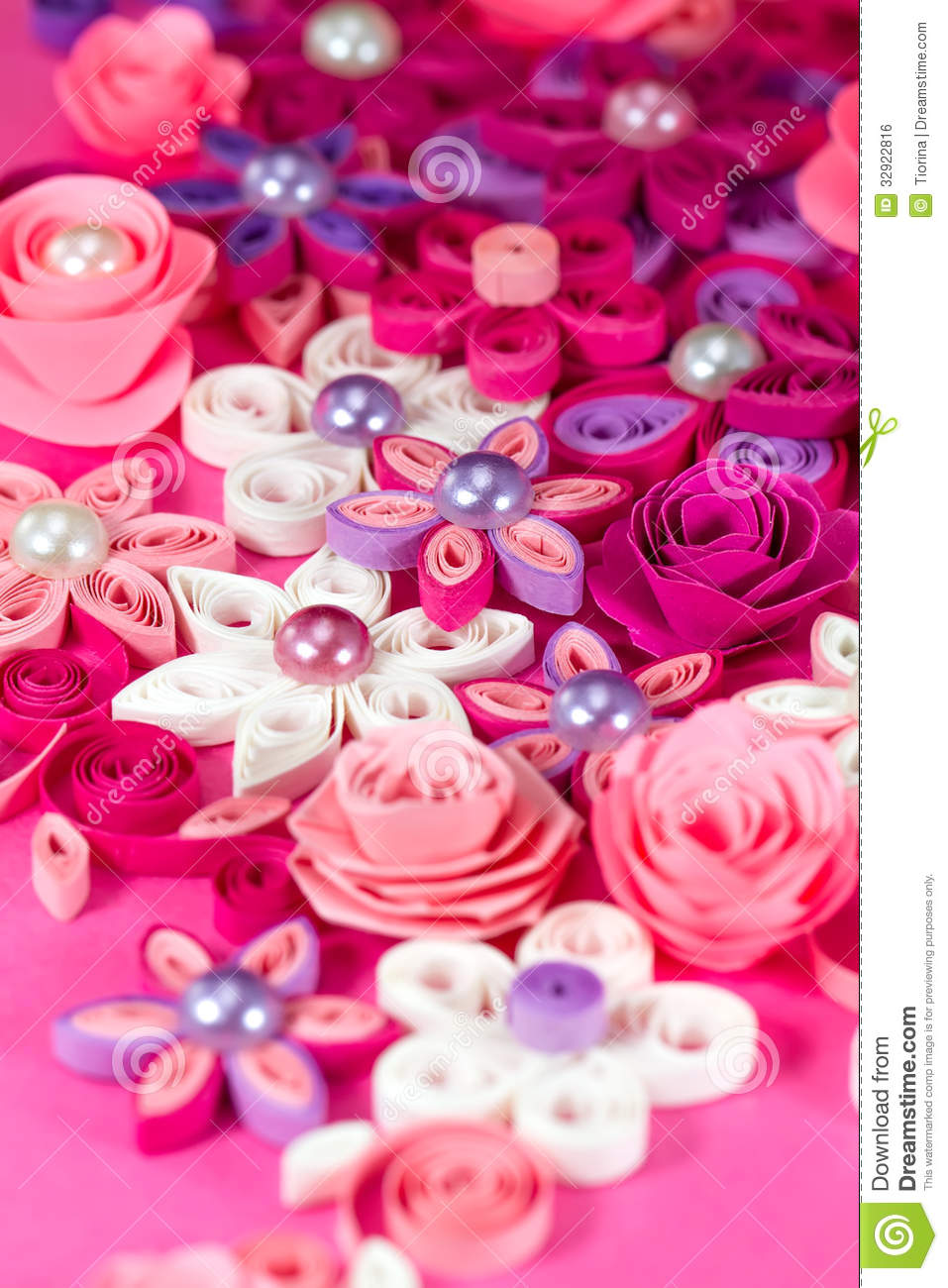 Colorful Paper Quilling Flowers With Pearls Stock Photo Image Of