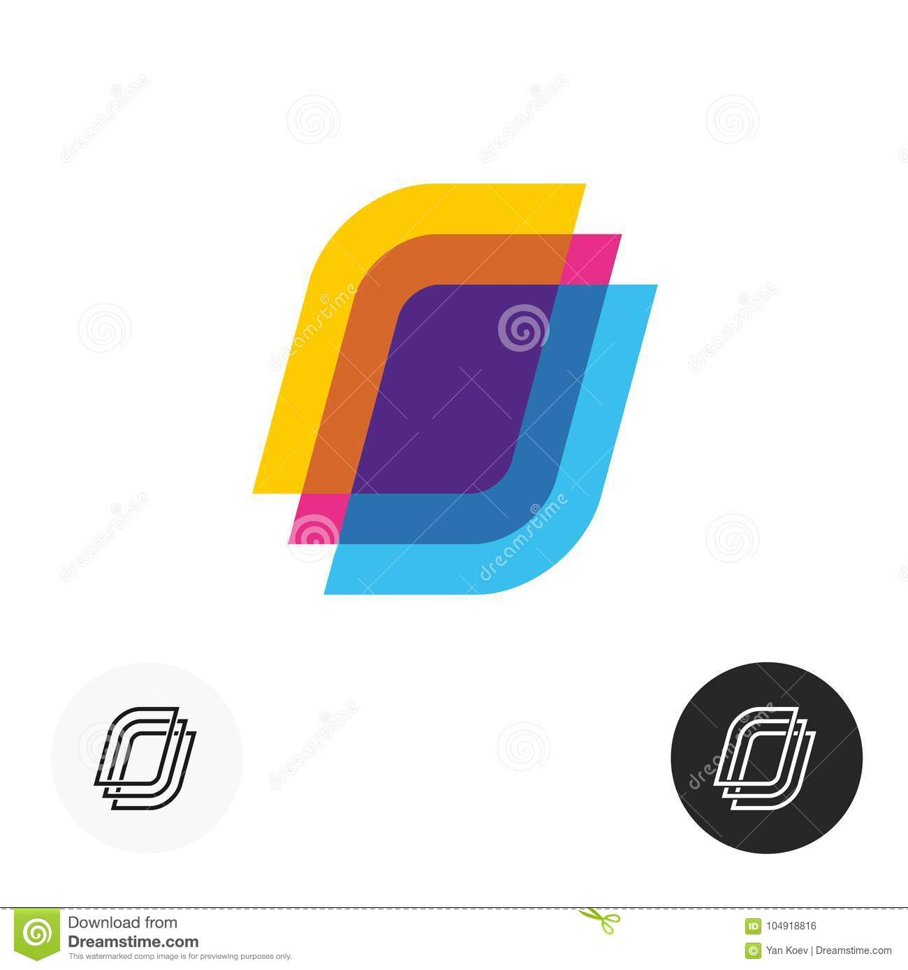 Colorful paper sheets logo. Transparent overlay style symbol.