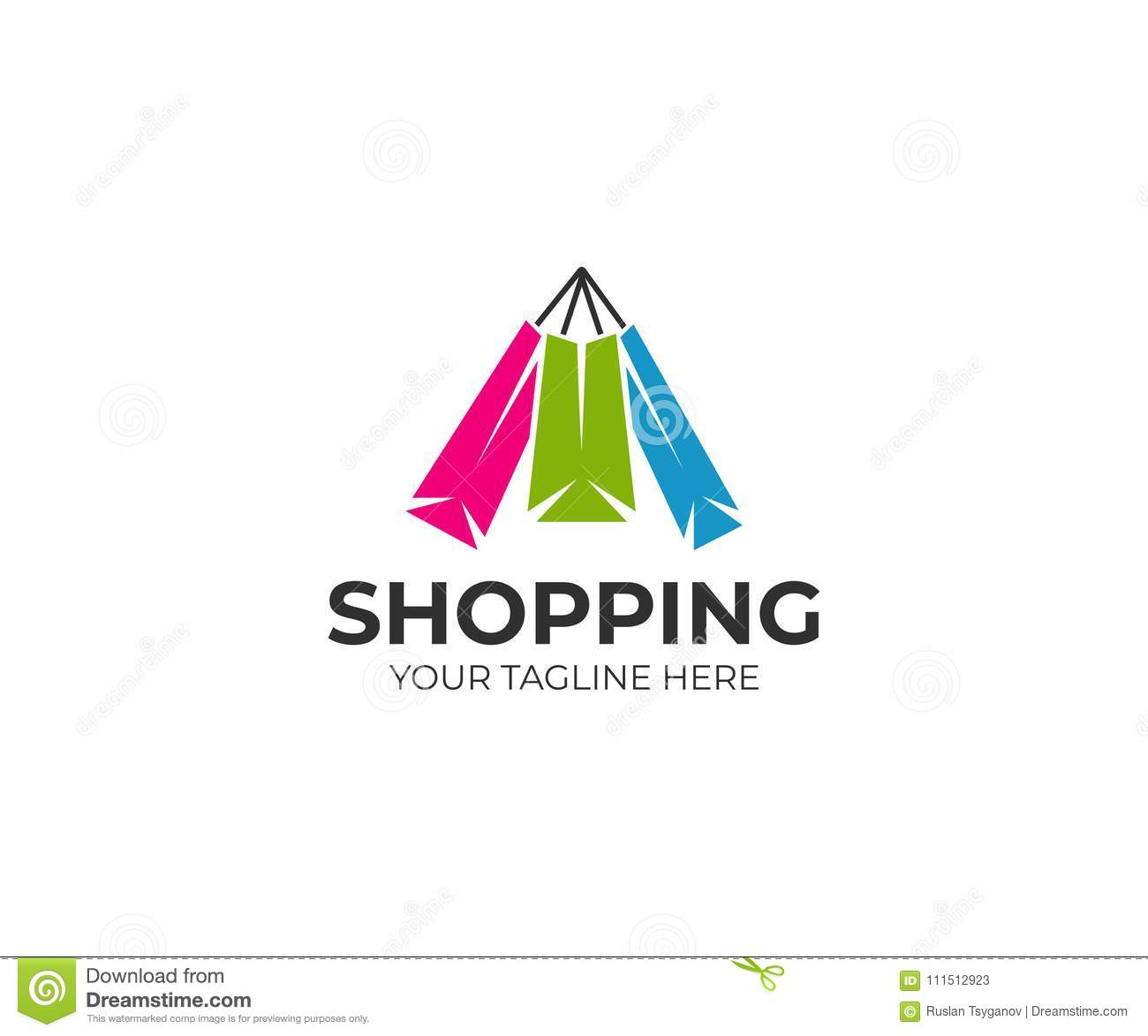 purchase logo template  Colorful Paper Shopping Bags Logo Template. Purchase Vector Design ...