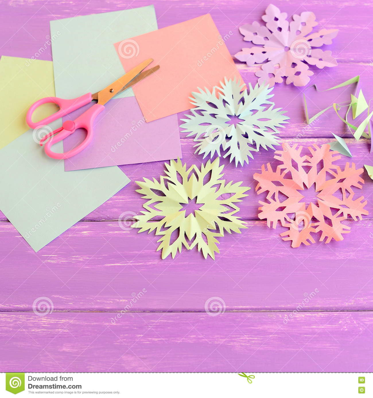 Colorful Paper Snowflakes Ornaments, Colored Paper Sheets And Scrap