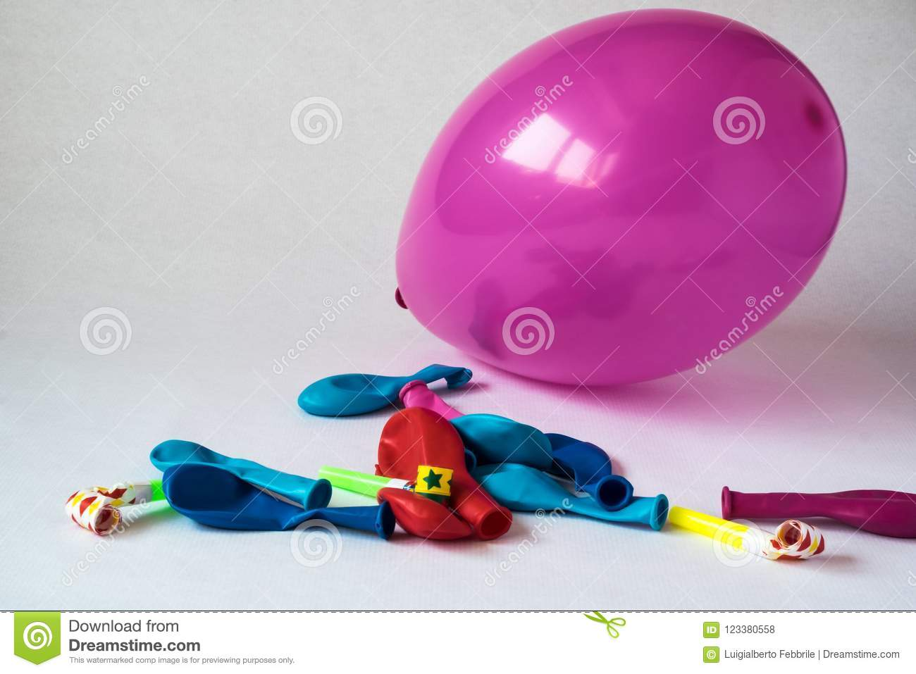 Colorful party balloons, out of the box to celebrate an event