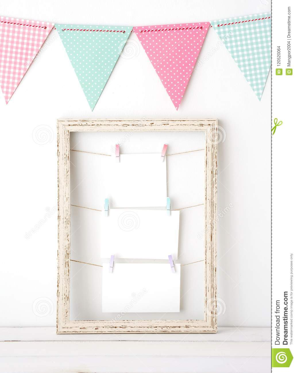 Colorful Party Flags Hanging Over White Vintage Wooden Frame Wit ...