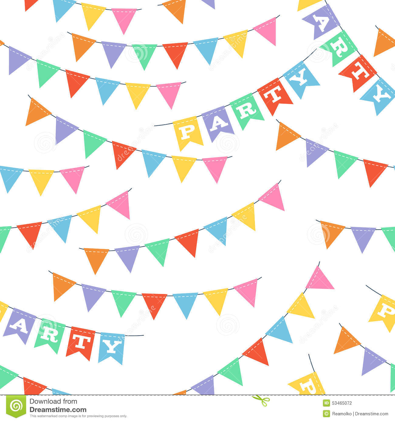 colorful party flags seamless pattern stock vector