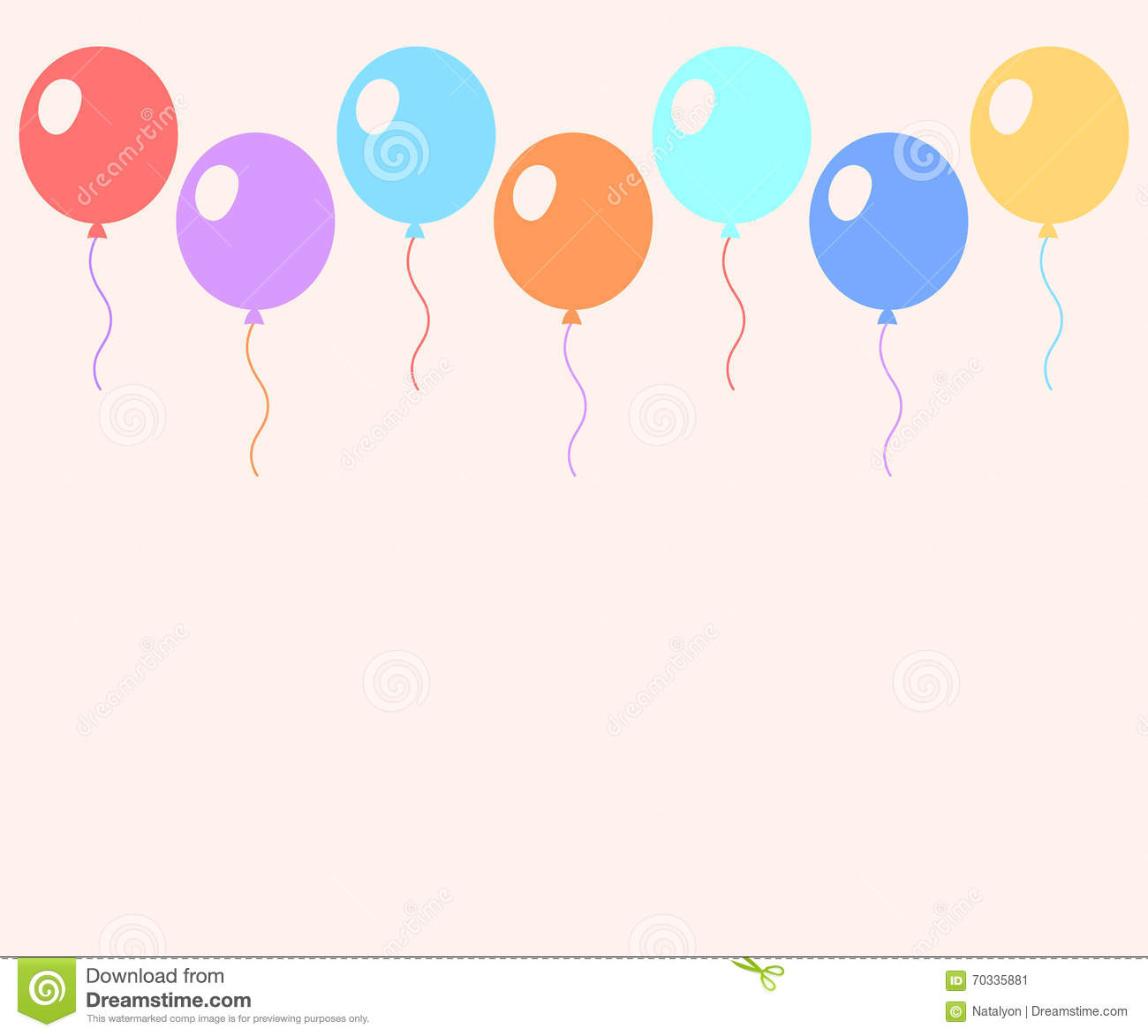 colorful pastel balloons flat style card template vector stock