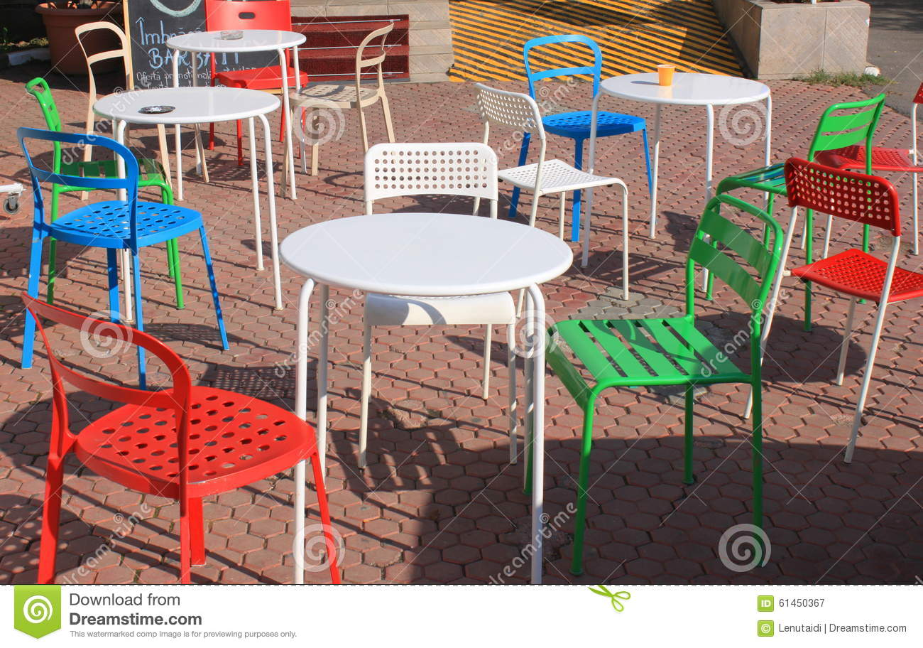 chairs colorful patio ... - Colorful Patio Chairs Stock Photo - Image: 61450367