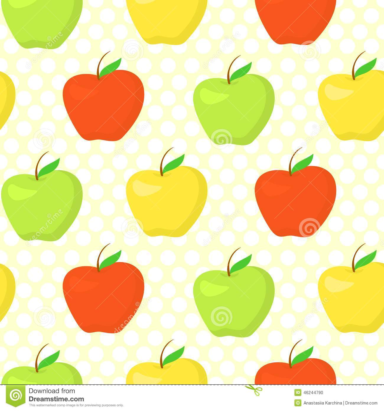 colorful pattern with green  yellow and red apples stock