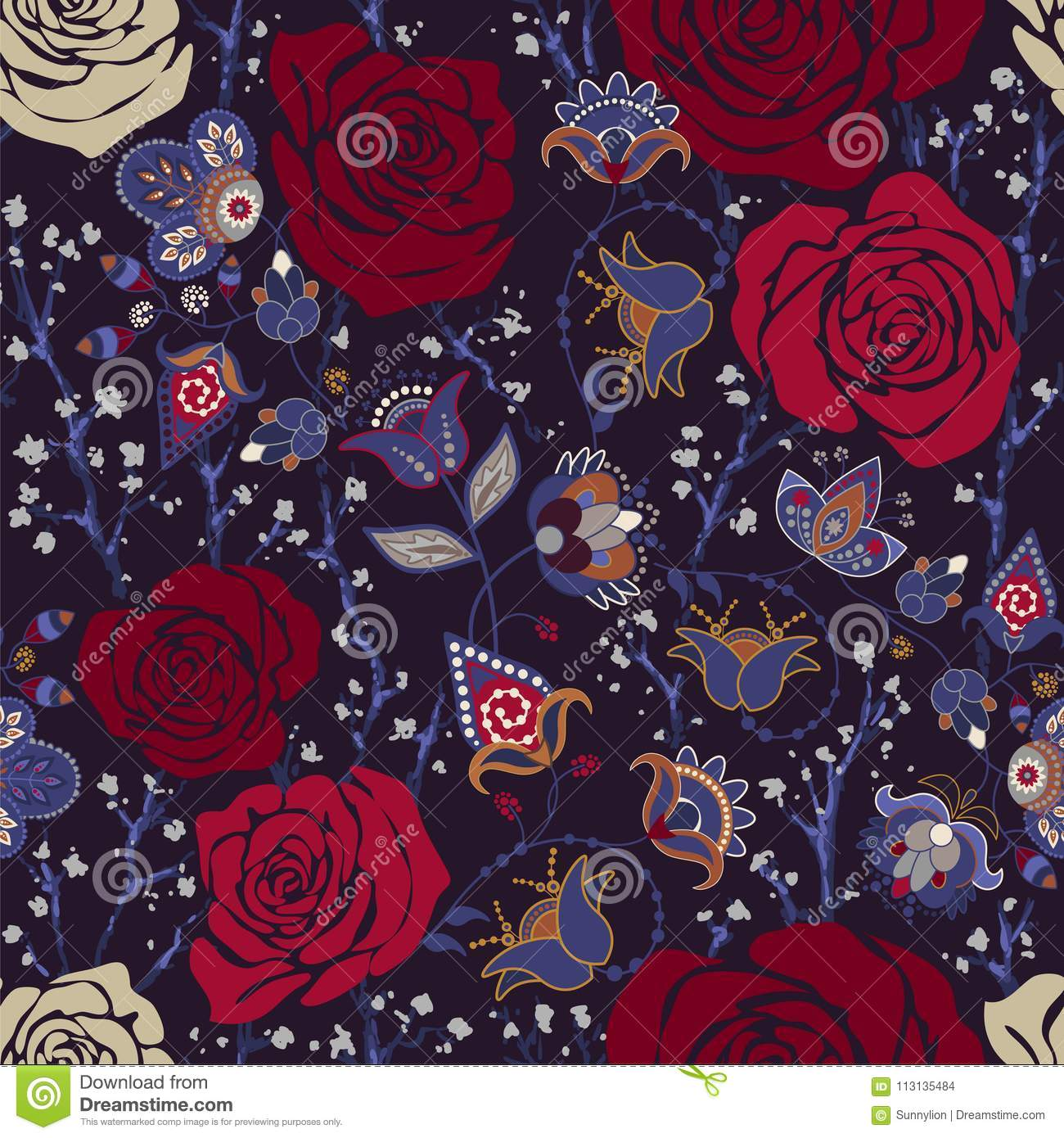 Colorful Pattern With Roses Decorative Flowers Seamless Wallpaper For Iphone Cover